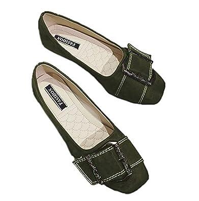 BAJIAN レディース ローヒール パンプス 婦人靴 カジュアル レジャー用 軽量 歩きやすい 大きいサイズ グリーン 23.5