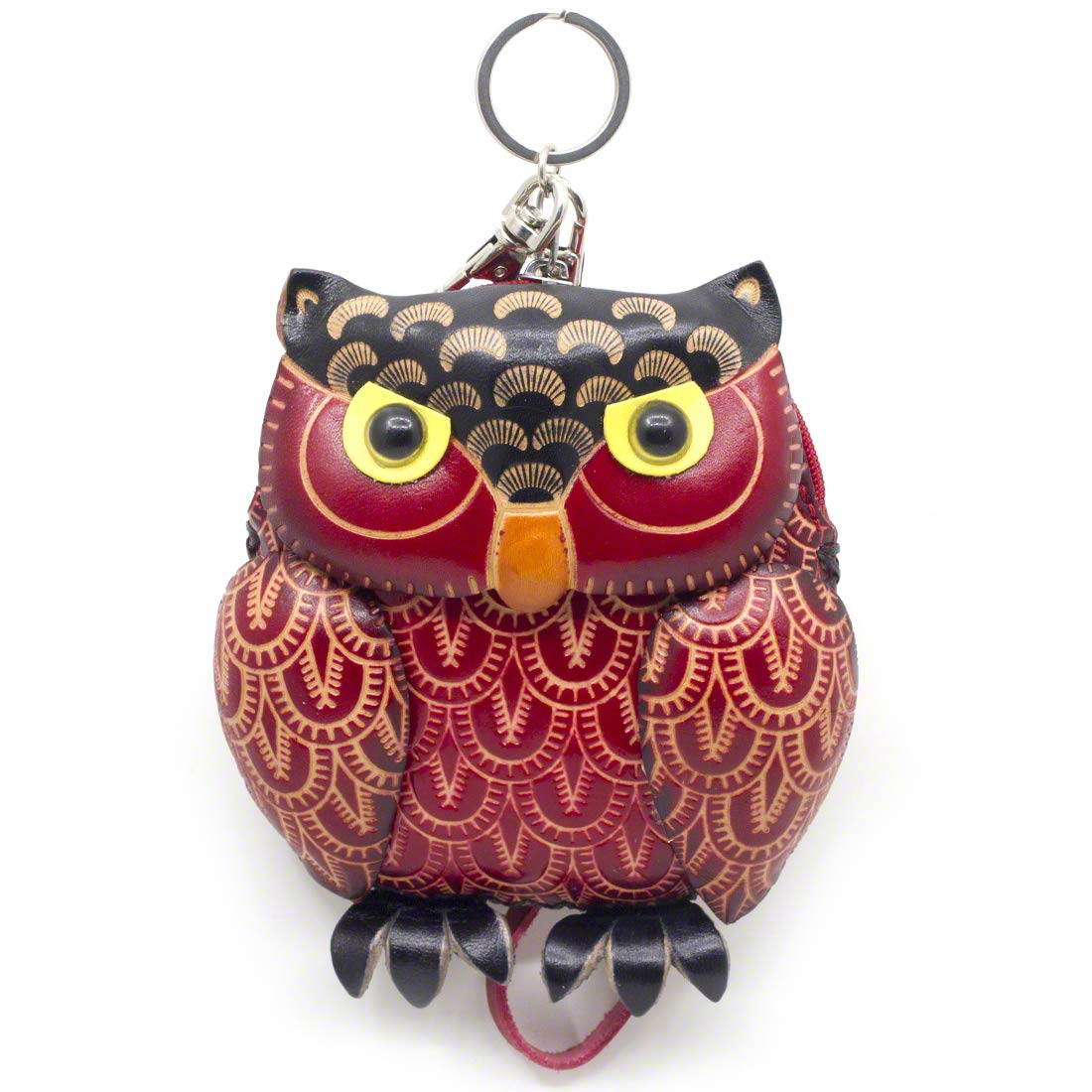 MOREFUN Owl Leather Mini Coin Purse Zipper Bag Keychain Animal Wallet Strap Pouch 01