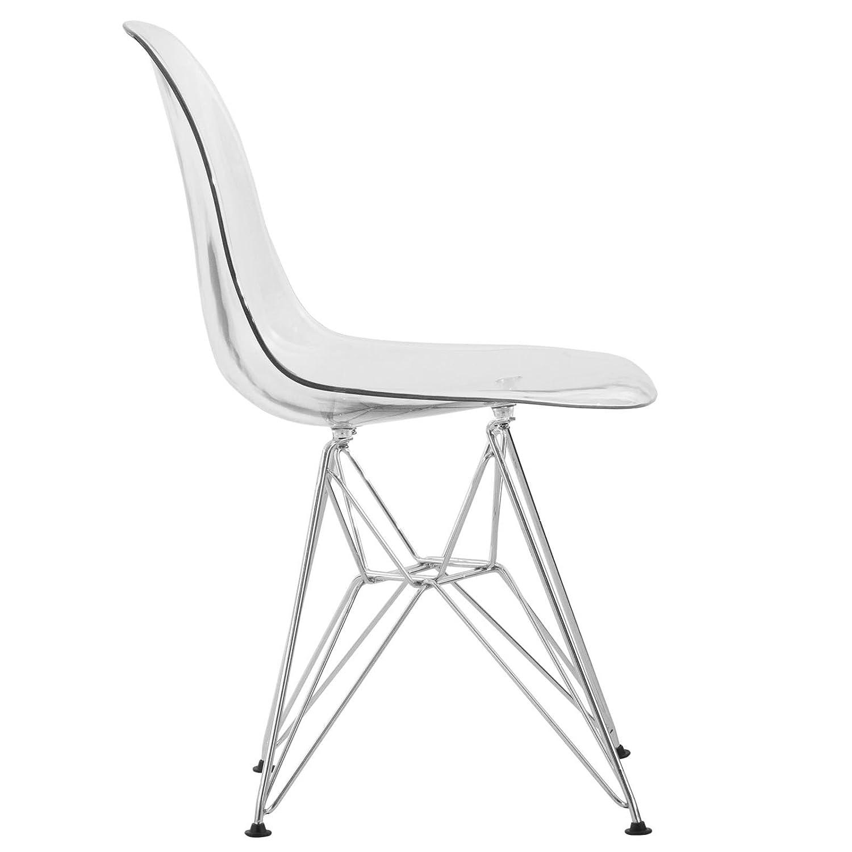 LeisureMod Carey Modern Eiffel Base Molded Side Chair Set of 2 Clear