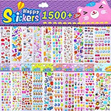 Kids Stickers 1500+, 20 Different Sheets, 3D Puffy Stickers, Bulk Pack for Craft Scrapbooking, Great Gift Idea for Children, Including Balls, Birds, Dinosaurs, Music Note and More