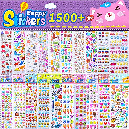 Set Decal Great Planes (Kids Stickers 1500+, 20 Different Sheets, 3D Puffy Stickers, Bulk Pack Craft Scrapbooking, Great Gift Idea Children, Including Balls, Birds, Dinosaurs, Music Note More)