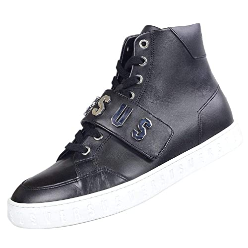 Versace Strap - Zapatillas de Piel de caña Alta con Suela Blanca, Color Negro: Amazon.es: Zapatos y complementos