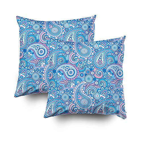 Musesh Pack of 2 abstract paisley floral design Cushions Case Throw Pillow Cover Sofa Home Decorative Pillowslip Gift Ideas Household Pillowcase Zippered Pillow Covers 18X18Inch