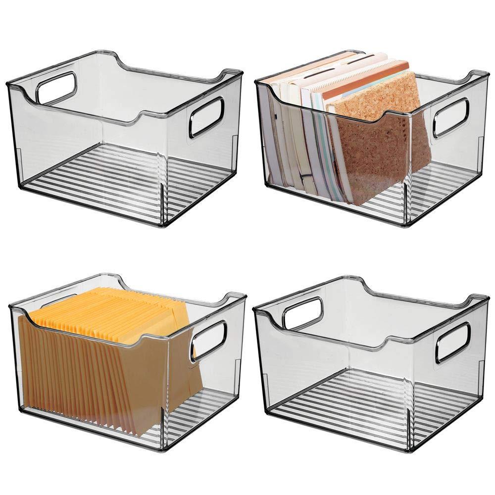 Scatola per la scrivania in plastica Contenitore per la conservazione di utensili da cucina da bagno o da ufficio mDesign Set da 4 Scatola di immagazzinaggio con maniglie integrate grigio fumo