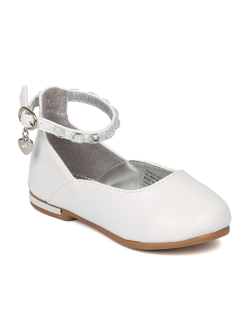 Alrisco Girls Leatherette Rhinestone Ankle Strap Charmed Ballet Flat HB60 - White Leatherette (Size: Toddler 7)