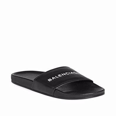 ff4b69001ee9 Unisex Mens Womens Balenciaga Sandals Piscine Flat Balenciaga Slide Leather  Logo Black EU43  Amazon.co.uk  Shoes   Bags