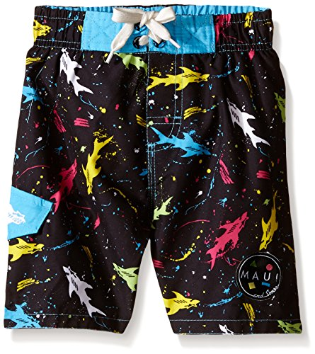 Maui & Sons Little Boys' Toddler Swim Trunk with Colored Shark Print, Multi, 3T by Maui & Sons
