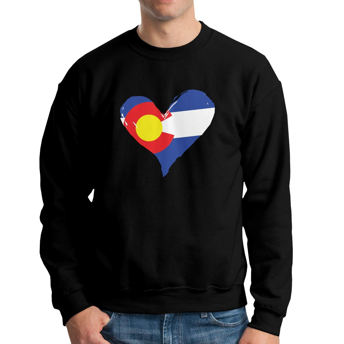 TADMAD Colorado Flag Heart Logo Mens Crew Neck Hoodie Sweatshirt