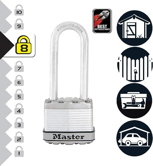 MASTER LOCK Candado Alta Seguridad [Llaves] [Acero Laminado] [Exterior] [Arco XL] M1EURDLJ - Ideal para Portales, Garages, Sótanos: Amazon.es: Bricolaje y herramientas