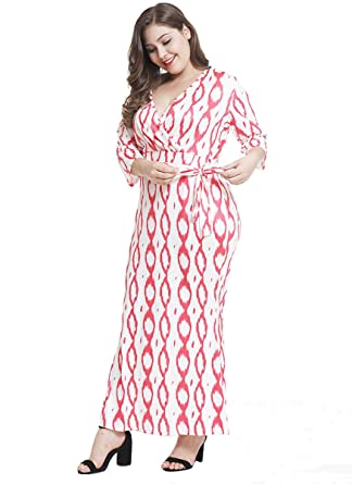 8a8995eaa8 Image Unavailable. Image not available for. Color: WANEE Women's Plus Size  Printed Long Sleeve Wrap V-Neck Elastic Maxi Dress with Belt