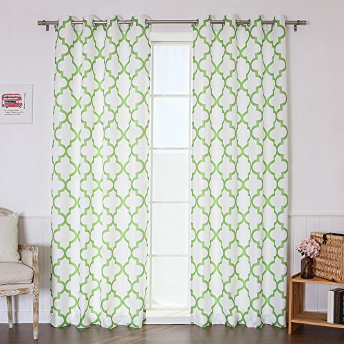 Green Basketweave (Best Home Fashion Oxford Basketweave Reverse Moroccan Print Curtains – Stainless Steel Nickel Grommet Top – Green – 52