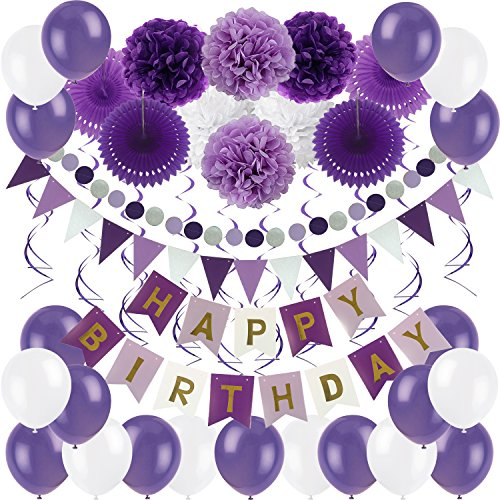 Zerodeco Birthday Decoration Set, Happy Birthday Banner Bunting with 4 Paper Fans Tissue 6 Paper Pom Poms Flower 10 Hanging Swirl and 20 Balloon for Birthday Party Decorations - Purple Lavender White -