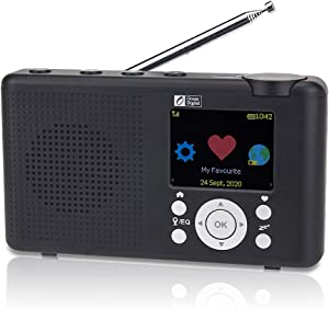 """Ocean Digital WR-23D Portable Internet Radio 2.4"""" Color LCD Rechargeable Battery Wi-Fi Bluetooth UPnP & DLNA Player (Black)"""