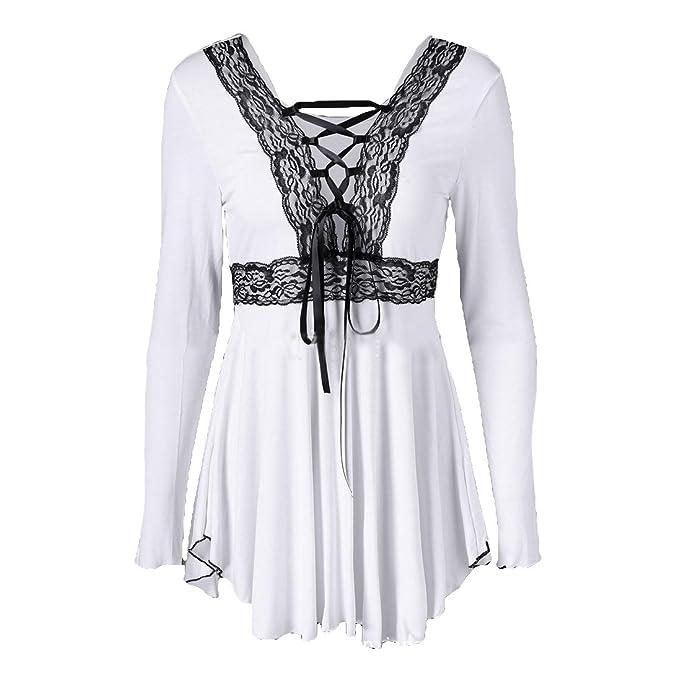 Moda Manga Larga Camiseta Mujer Color Sólido Blusa Sexy Cuello en V Vendaje T-Shirt Casual Camisa Otoño y Primavera Blusa Sudaderas Tops M-2XL: Amazon.es: ...