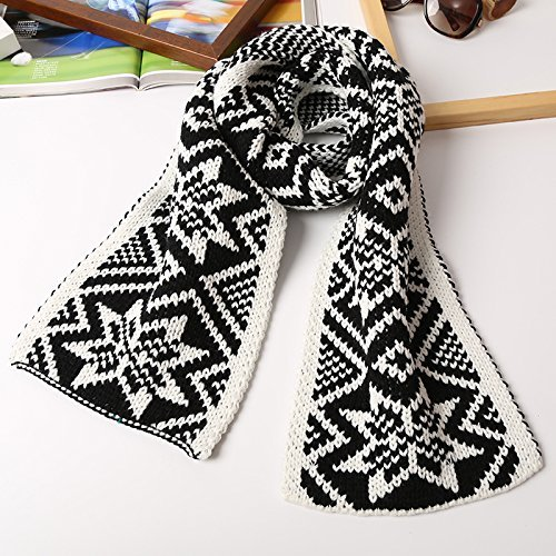 Black and White SED ScarfWoman Winter Scarf Thick Warm Knit Scarf Long Scarf Shawl AllMatch