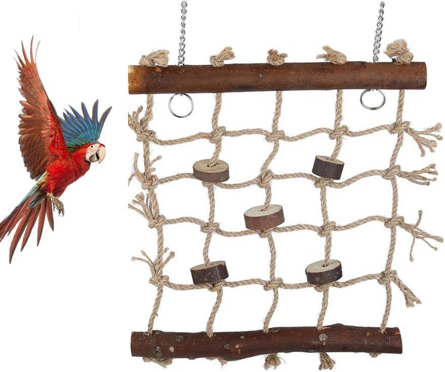 Columpios para pájaros, escalera de madera Hamaca con 2 ganchos y cuerda tejida para loros, periquitos, periquitos, cacatúas, conures, guacamayos, tortolitos, pinzones: Amazon.es: Hogar