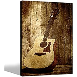 Sea Charm- Acoustic Guitar Canvas Art,Wall Decoration Music Art Image Printed on Canvas Stretched and Framed,Guitar on Rustic Wood Backdrop Wall Art Home Decor