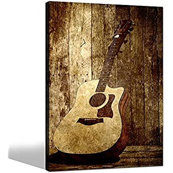 Sea Charm  Acoustic Guitar Canvas Art,Wall Decoration Music Art Image  Printed On Canvas Stretched And Framed,Guitar On Rustic Wood Backdrop Wall  Art Home ...