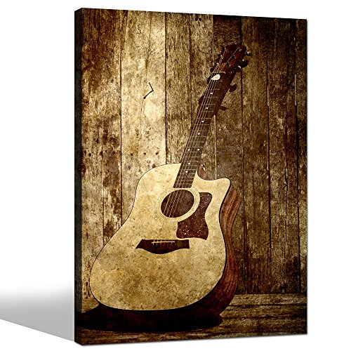 sechars - Acoustic Guitar Canvas Art Wall Decoration Music Art Picture Printed on Canvas Stretched and Framed Guitar on Rustic Wood Backdrop Wall Art Home Decor (Music Pictures Vintage)