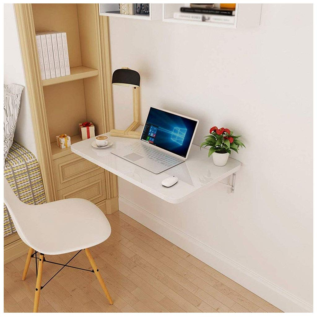 Folding Drop Leaf Table Dining Table Space Saver Fold Convertible Desk Home Laptop Wall-Mounted Writing Desk Modern (Color : White, Size : 12050cm) by SHELFDQ