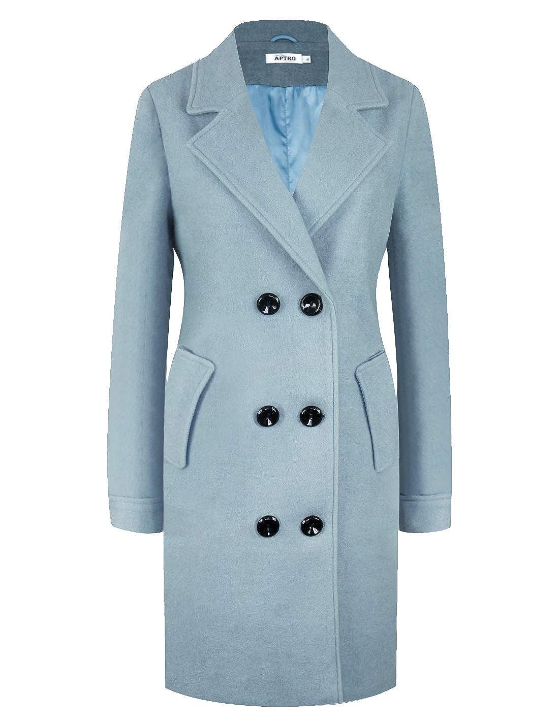 APTRO Women's Wool Coat Lapel Double-Breasted Long Classic Winter Windproof Jacket