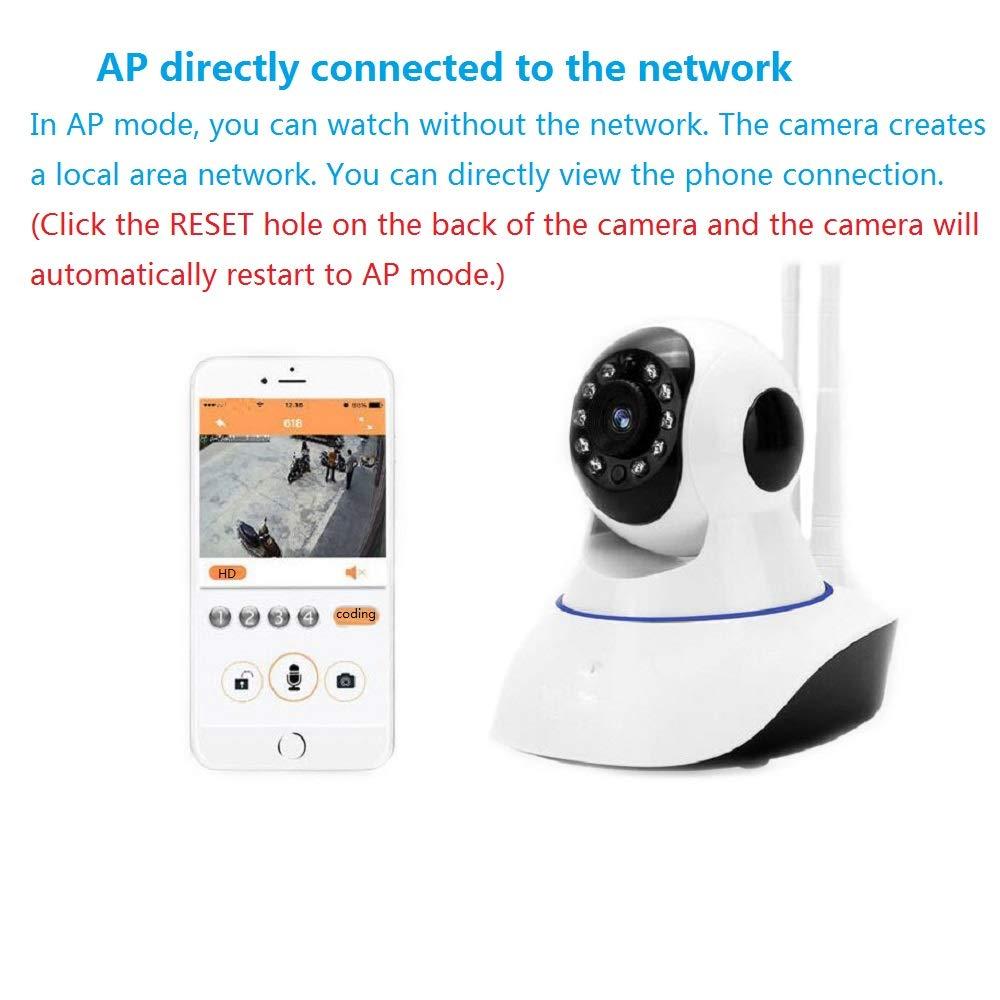 QZH Inalámbrico WiFi Remoto 360 ° Cámara, HD 1080P Multi ...