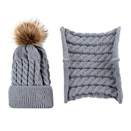 GROOMY Nato Bambino Bambini Inverno Addensare Intrecciato Cappello Lavorato  a Maglia Sciarpa Set di Colore Solido 84bb6a13e96d