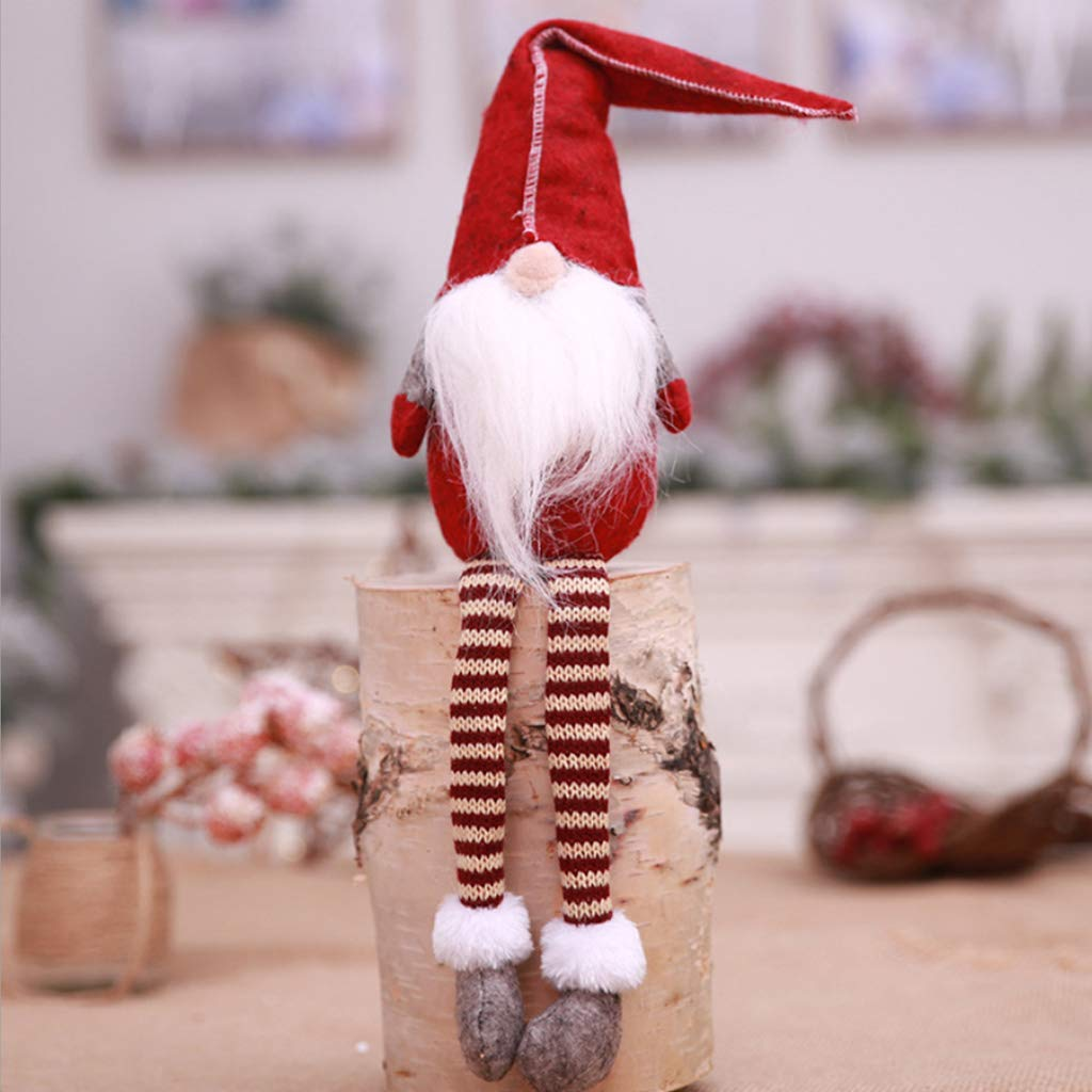 Home Party Xmas Decoration Ornament Kids Toy haia7k4k Christmas Faceless Beard Long Legs Santa Claus Sitting Doll with Stripes Hat