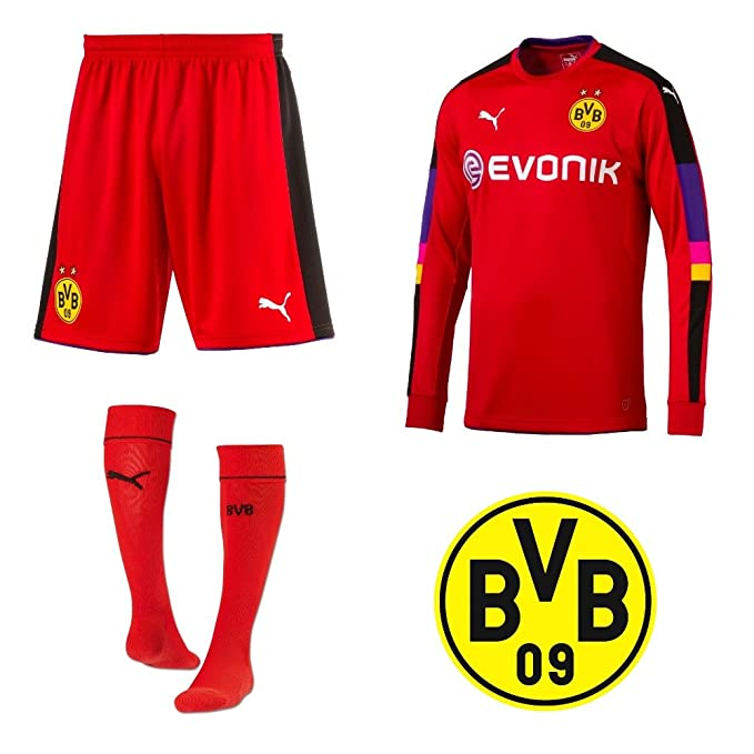 9083749d2 Borussia Dortmund Football Kit Puma Youth 2016 17 BVB Goalkeeper Full Kit  Shirt Shorts   Socks - Red  Amazon.co.uk  Sports   Outdoors