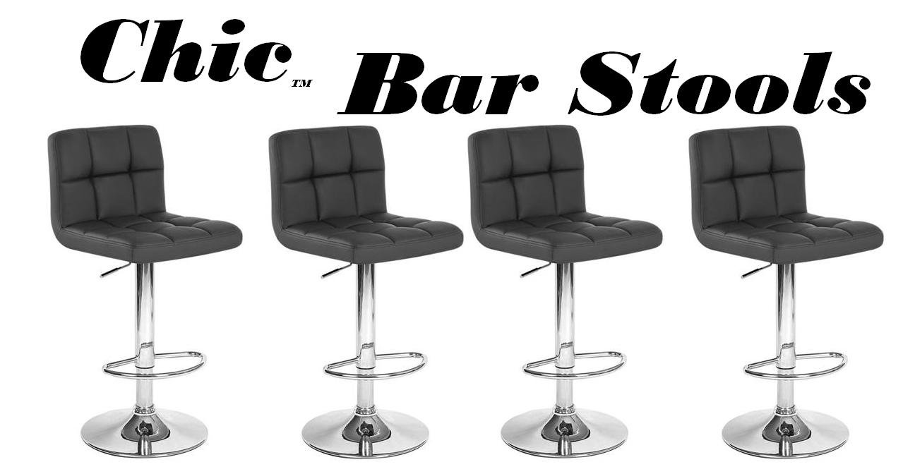 Chic Modern Adjustable Synthetic Leather Swivel Bar Stools Black