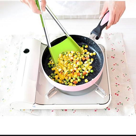 Compra KOBWA Cocina Espátula, 2 en 1 Espátula de Silicona y Pinzas Herramienta de Cocina, 12 Espátula de Alimentos y Pinzas con Clip de Bloqueo, ...