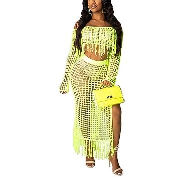 7d2dd7bb0d Remelon Women's 2 Piece Hollow Out Beachwear, Off Shoulder Long Sleeve Crop  Top & High