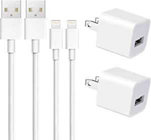iPhone Charger, Everdigi 2 Pack USB Wall Charger Adapter Block with 2 Pack 3FT iPhone Charger Cable Cord Compatible iPhone 11/Xs/Xs Max/XR/X /8/7/6/6S Plus SE/5S/5C, iPad and More