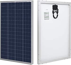 HQST 100 Watt Polycrystalline 12V Solar Panel with Solar Connectors High Efficiency Module PV Power for Battery Charging Boat, Caravan, RV and Any Other Off Grid Applications