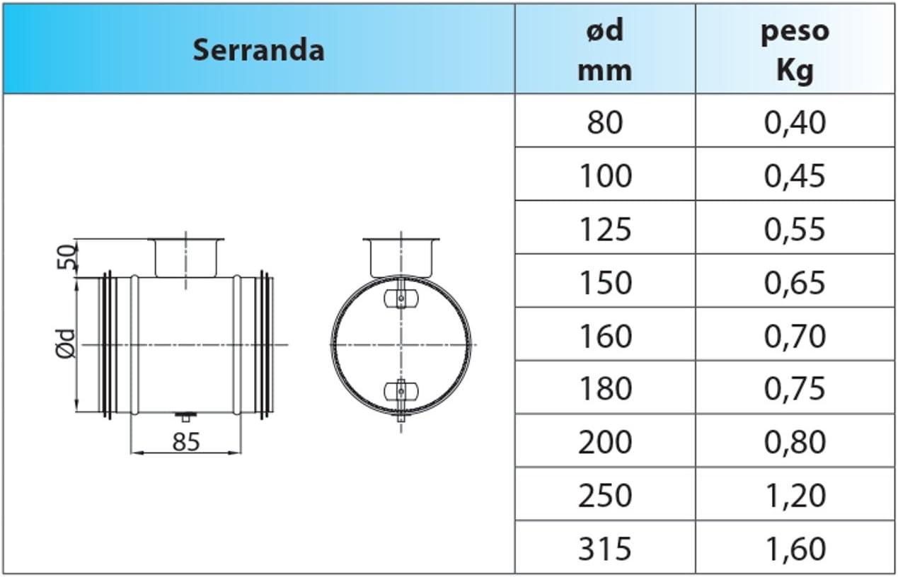 Serranda di taratura aria manuale 2 vie /Ø 80 per regolazione portata aria in impianti di condizionamento e ventilazione con tubo circolare Spiro.