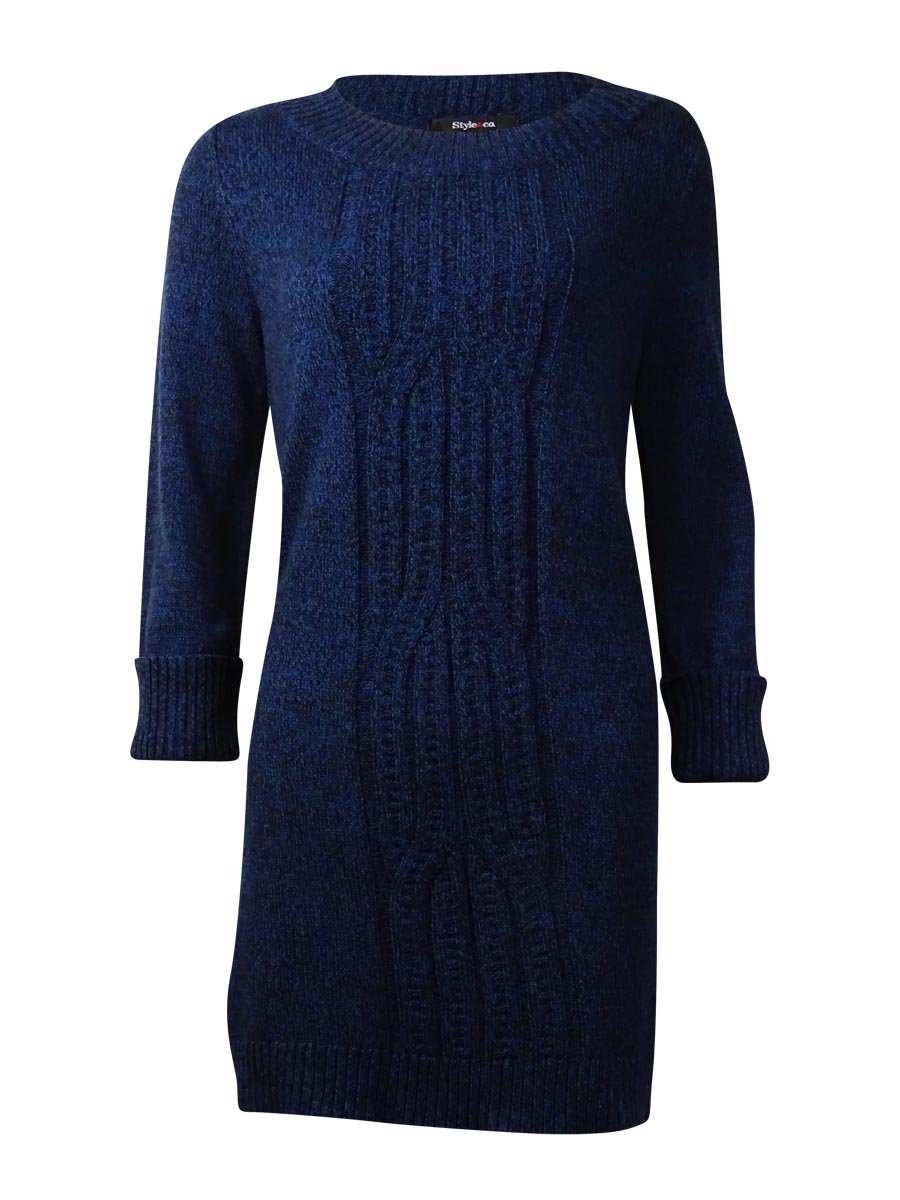 Style & Co. Womens Plus Cabled-Front Marled Tunic Sweater Blue 1X