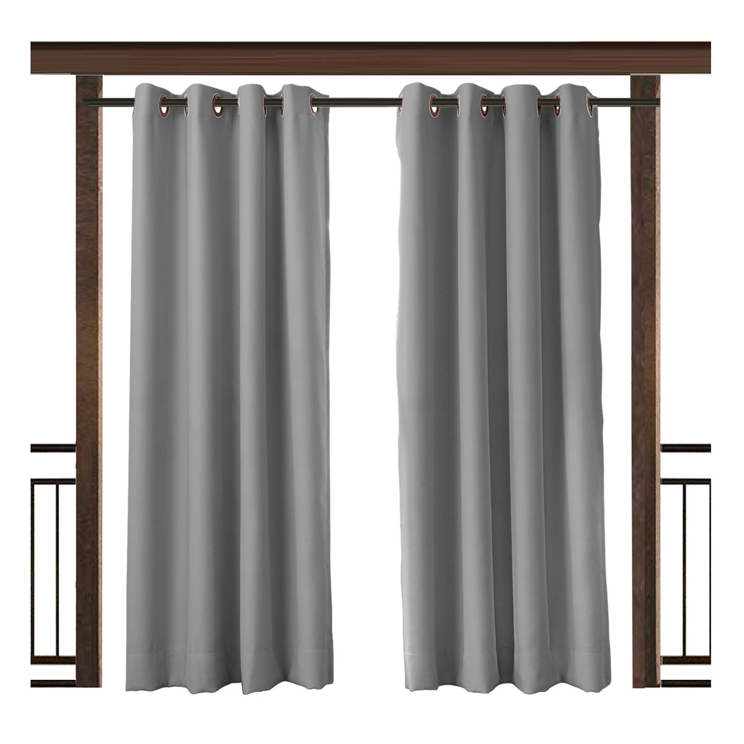 TWOPAGES Outdoor Waterproof Curtain Gray Rustproof Grommet Drape, 150'' W x 96'' L for Front Porch Pergola Cabana Covered Patio Gazebo Dock Beach Home (1 Panel)