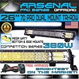 No.1 26' Pro Straight Pro Dual Mount Tri-Row Led Light Bar 360w 36,000LM 7D Spot Flood Combo Beam for Off Road Jeep ATV AWD SUV 4WD 4x4 RZR Can Am X3