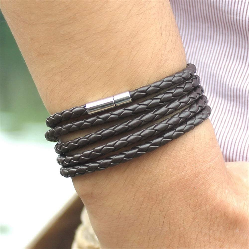 PU Leather 5 Layers Magnet Clasp Easy to Wear kelistom Braided Leather Bracelet for Men Women