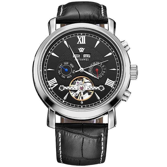 YANJJ Reloj Mecánico Automático Relojes De Estilo Retro Esqueleto Diseño Negocio Casual Reloj Correa De Cuero Unisex,Black1-OneSize: Amazon.es: Ropa y ...