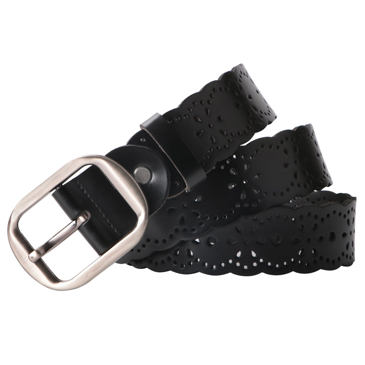 Women Leather Belts 38mm Wide Jeans Belt Fashion Belts for Skirts Metal Buckle Belts Leather Black Fits 27 Inch to 35 Inch By MoAnBee