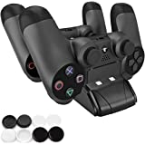 PECHAM DualShock 4 Dual Charger Dock Mini PS4 Controller Charging Station With LED Indicator Black