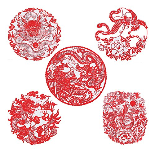 Shayier China 's Intangible Cultural Heritage Chinese Handmade Paper-cut (Dragon & Phoenix)