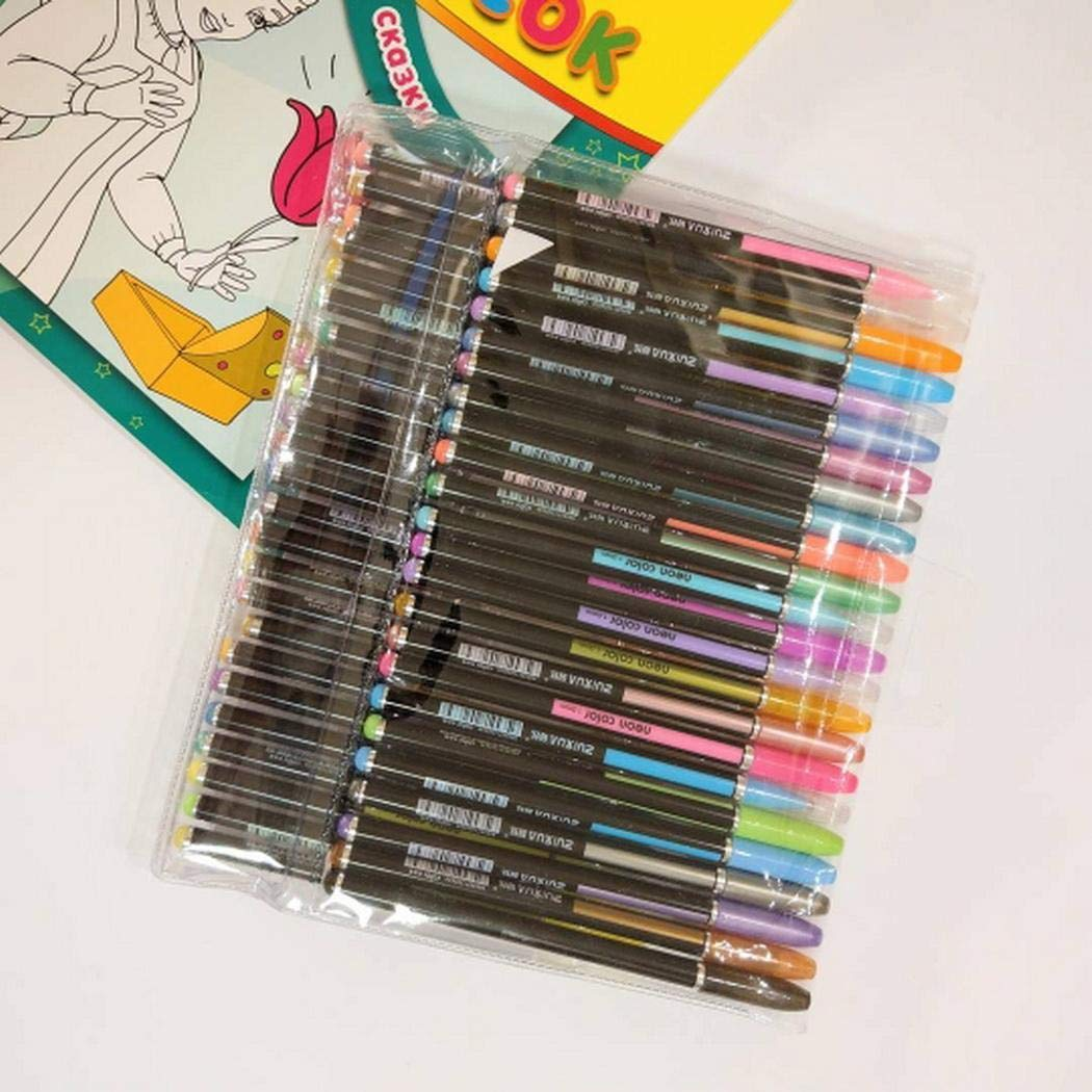 MelysUS 48pcs Gel Pen Set Refills Metallic Pastel Neon Glitter Sketch Painting Drawing Color Pen School Stationery Marker for Kids Gifts by melysUS (Image #4)