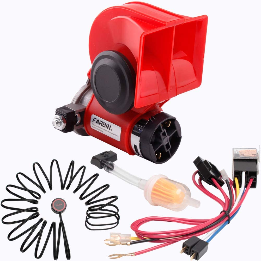 Amazon Com Farbin Car Horn Kit 12v 150db Loud Air Horn With Compressor Compact Horn With Relay Harness Button For Car Truck Jeep 12v Red Horn With Button Automotive