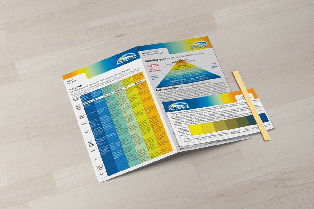 Alkaline Body Balance Informational 4-Page Brochure with Food Chart and Free pH Test Strip