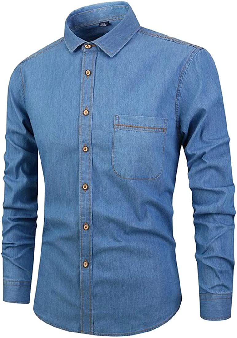 pujingge Mens Long Sleeve Solid Slim Fit Leisure Denim Button Down Dress Shirts