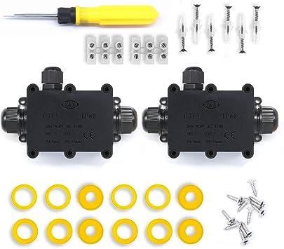 Cajas de Empalmes,IP68 Caja de Conexiones Impermeable Eléctricas para 4 mm-14 mm Diámetro del Cable,Conector Exterior Cable (2 Pack): Amazon.es: Bricolaje y herramientas