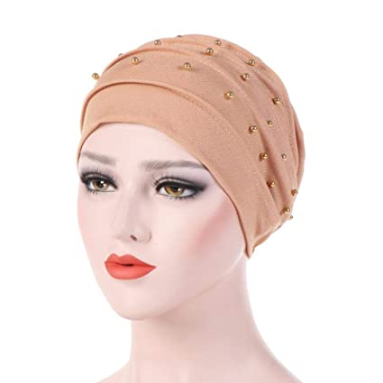 a58081c1277 SUKEQ Women s Cotton Beading Beanie Chemo Cap Lightweight Slouchy Turban Hat  Shirred Head Wrap Scarf for Hair Loss