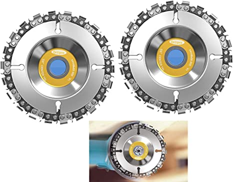 Grinder Wood Carving Chain Saw Disc 4 Chainsaw Grinder Wheel Anti Kickback Double Saw Teeth Shaper Cutting Shaping Chain Blade For 100 115 Angle Grinder 22 Teeth 5 8 Arbor Amazon Com